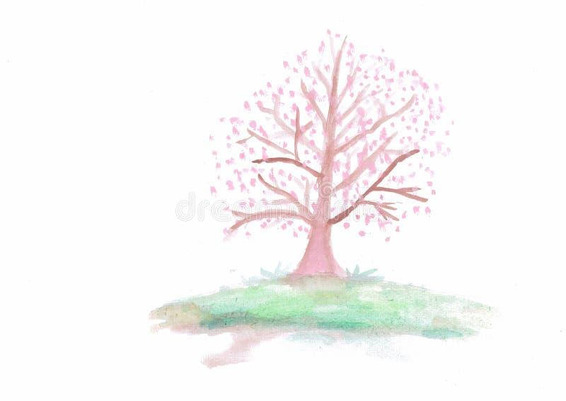 Pintura da aquarela da árvore de Sakura foto de stock royalty free