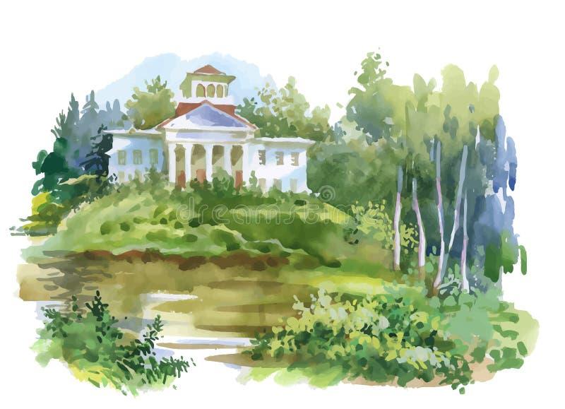 Pintura da aquarela da casa na ilustração das madeiras ilustração stock