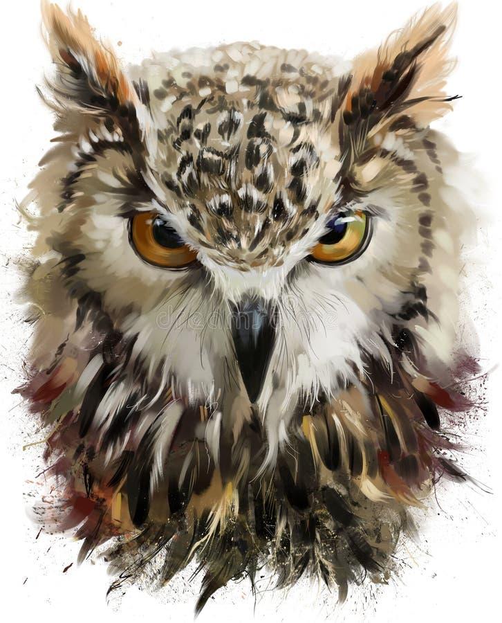 Pintura da aquarela da coruja ilustração stock