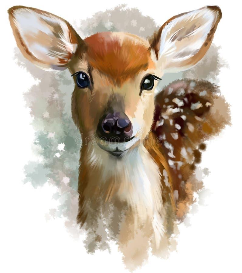 Pintura da aquarela da jovem corça ilustração stock