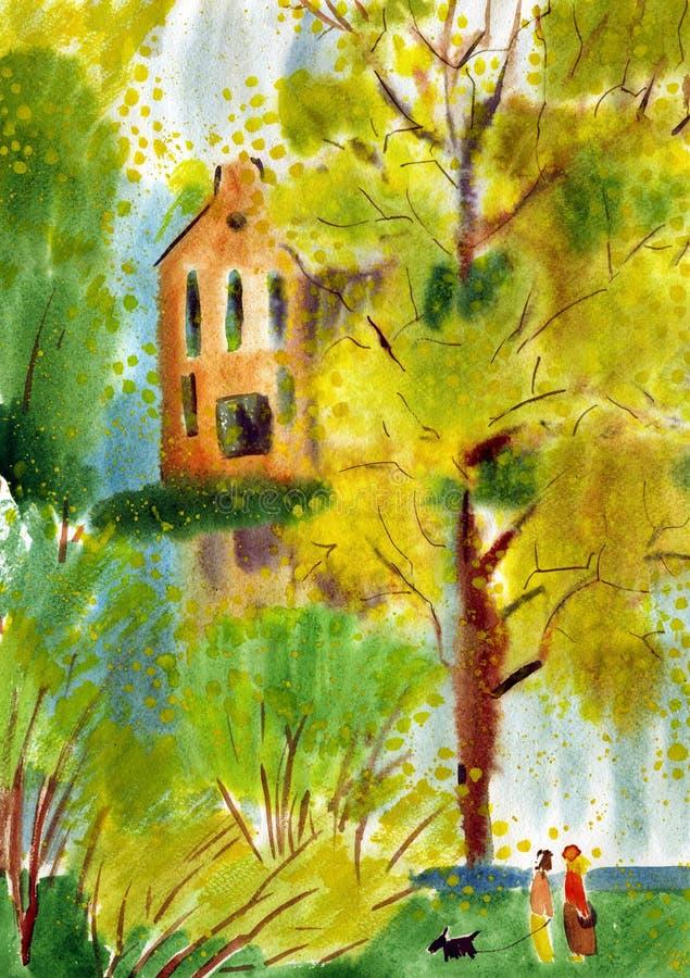 Pintura da aquarela da paisagem do outono ilustração do vetor