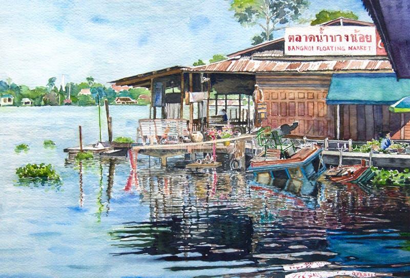 Pintura da aquarela das casas em um beira-rio foto de stock