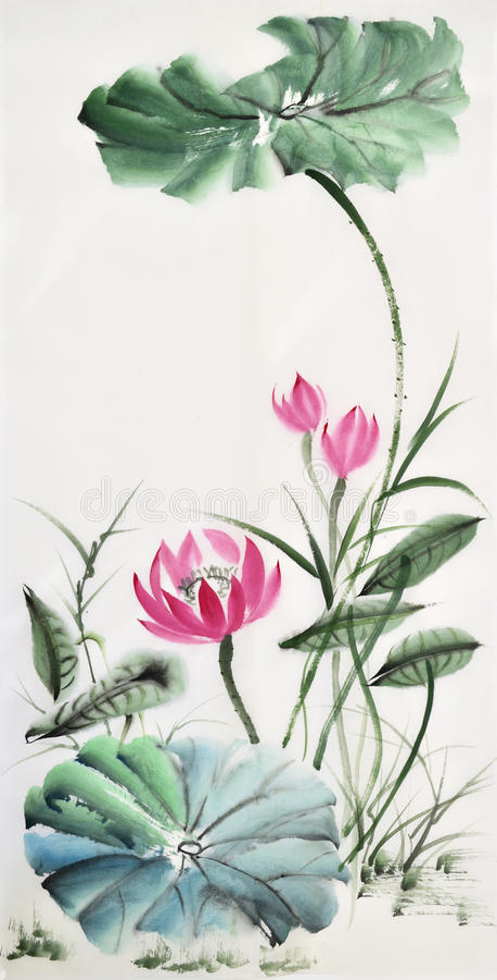 Pintura da aquarela das folhas e da flor dos lótus ilustração do vetor