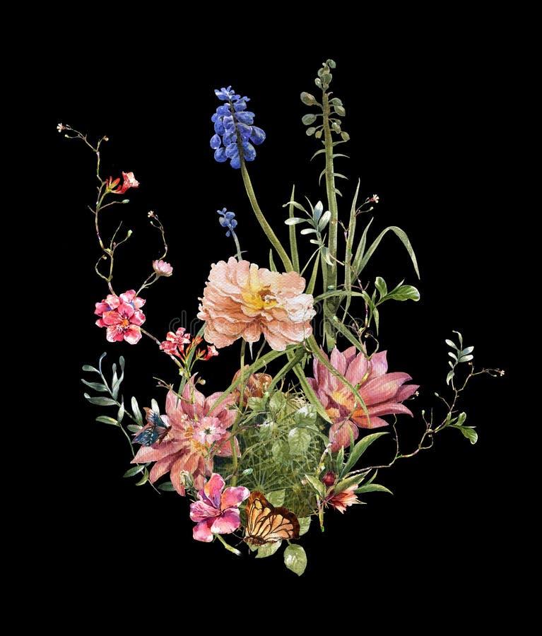 Pintura da aquarela das folhas e da flor, na obscuridade fotografia de stock royalty free