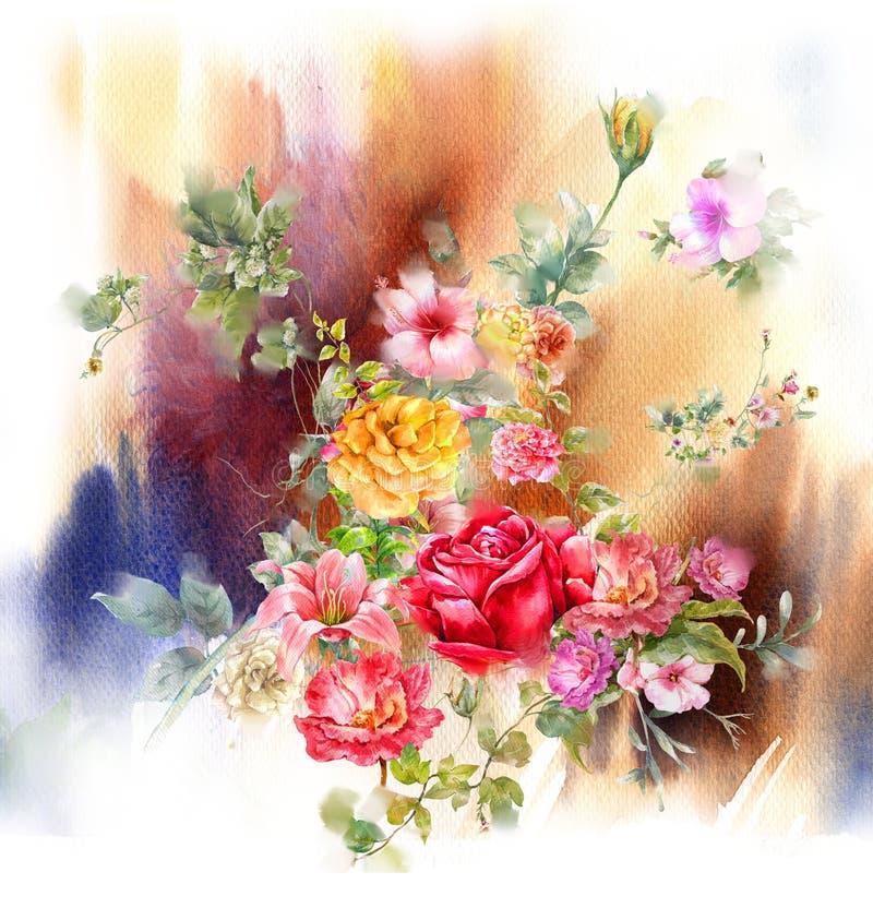Pintura da aquarela das folhas e da flor, no branco ilustração do vetor