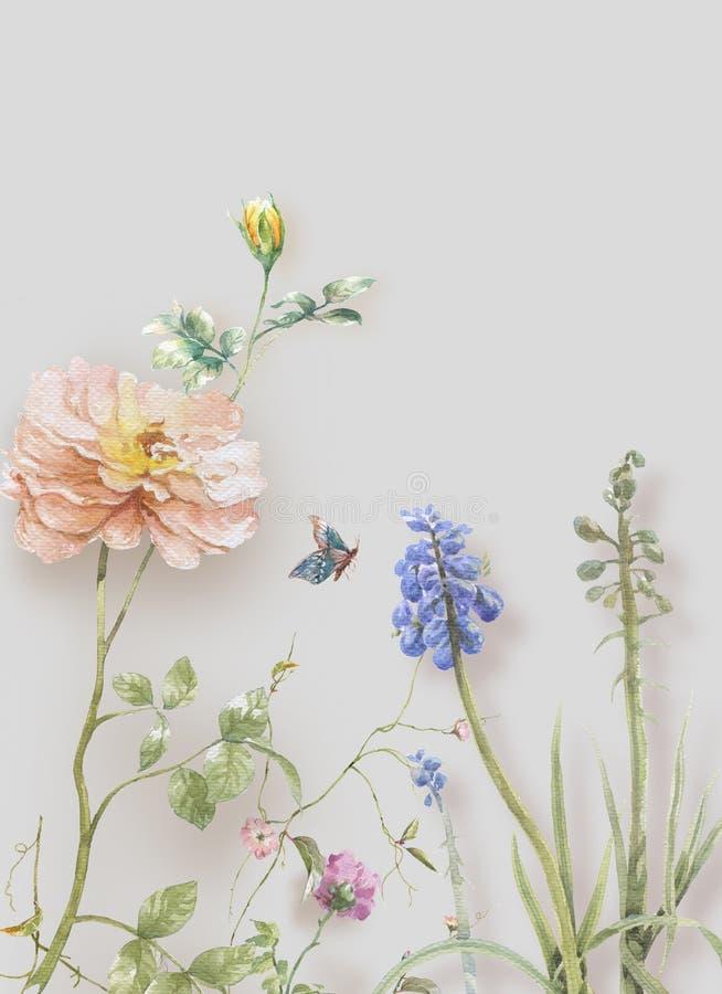 Pintura da aquarela das folhas e da flor, no branco imagens de stock