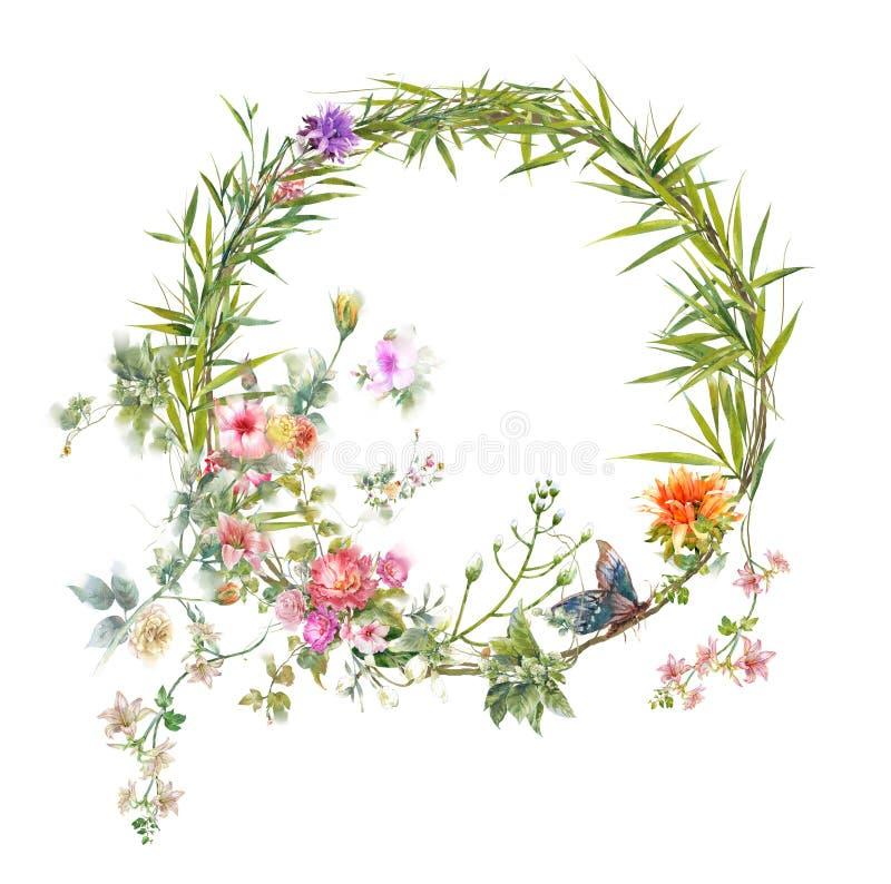 Pintura da aquarela das folhas e da flor, no branco foto de stock