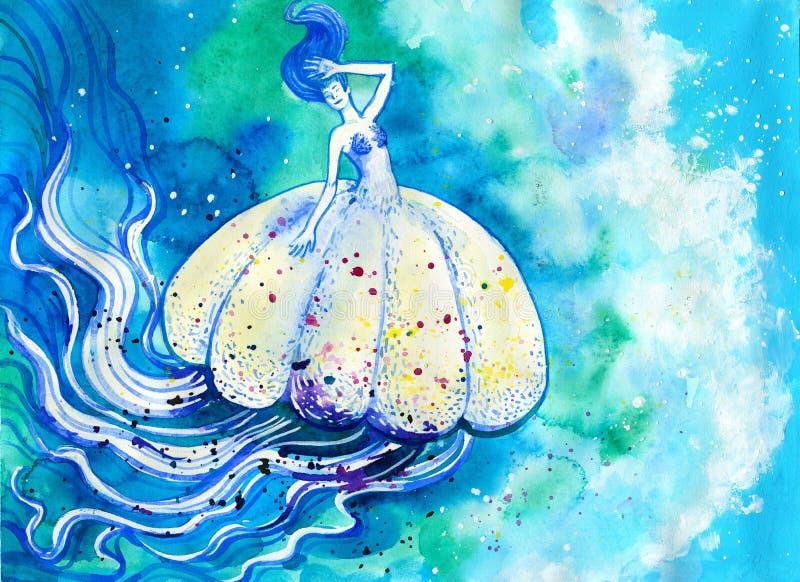 Pintura da aquarela das medusas ilustração stock