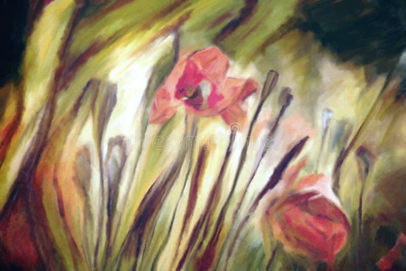 Pintura da aquarela das papoilas ilustração do vetor