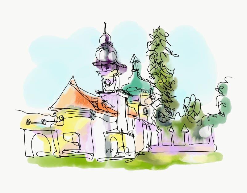 Pintura da aquarela de Digitas de pouca igreja em Ucrânia ocidental ilustração royalty free