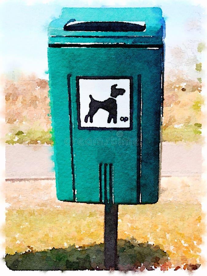 Pintura da aquarela de um escaninho waste do cão em uma área pública ilustração stock
