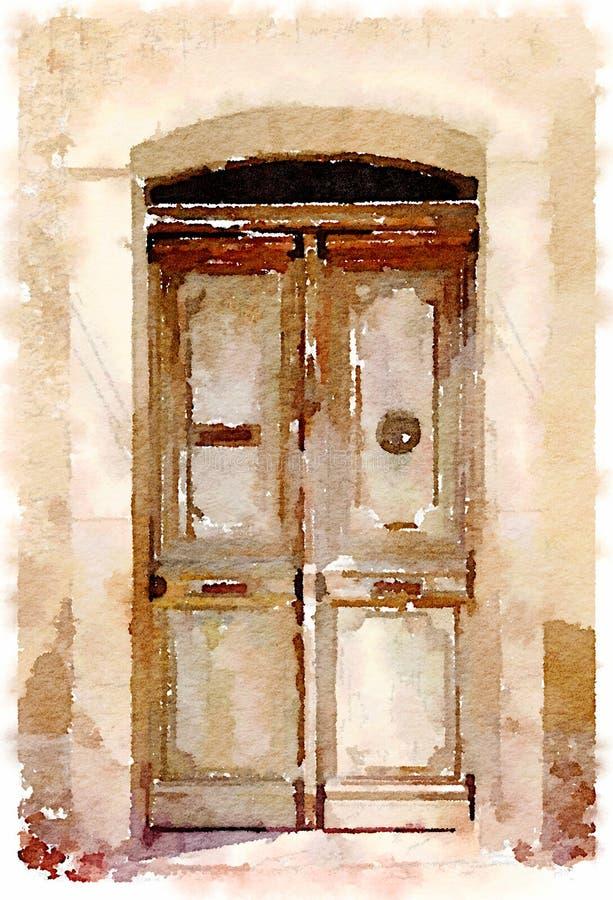 Pintura da aquarela de uma porta de madeira velha na Espanha imagens de stock