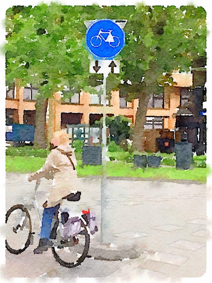 Pintura da aquarela de uma senhora em uma equitação da bicicleta em um trajeto ilustração do vetor