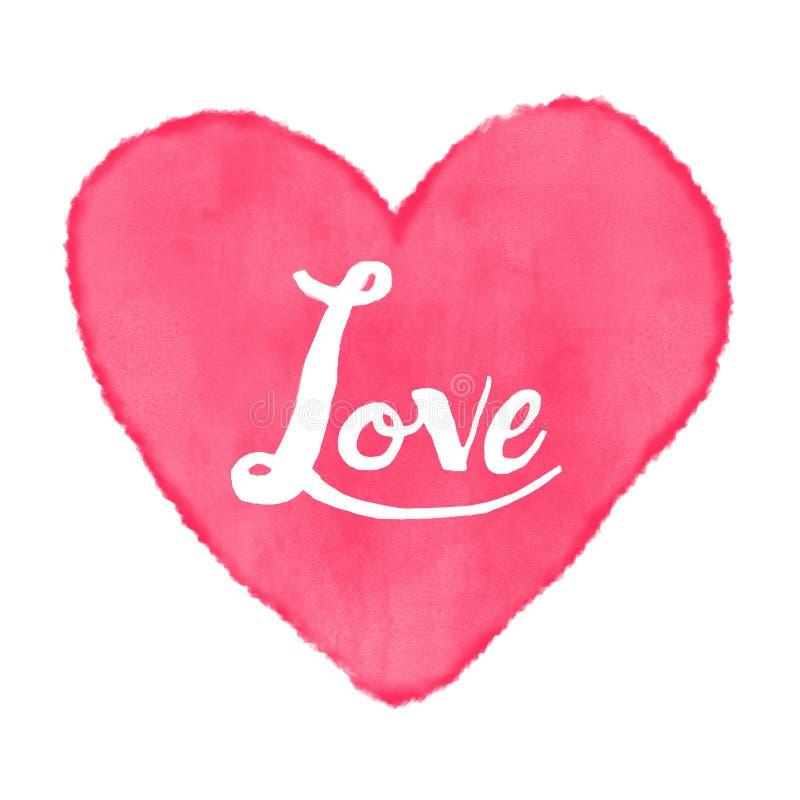 Pintura da aquarela do amor do coração imagens de stock royalty free