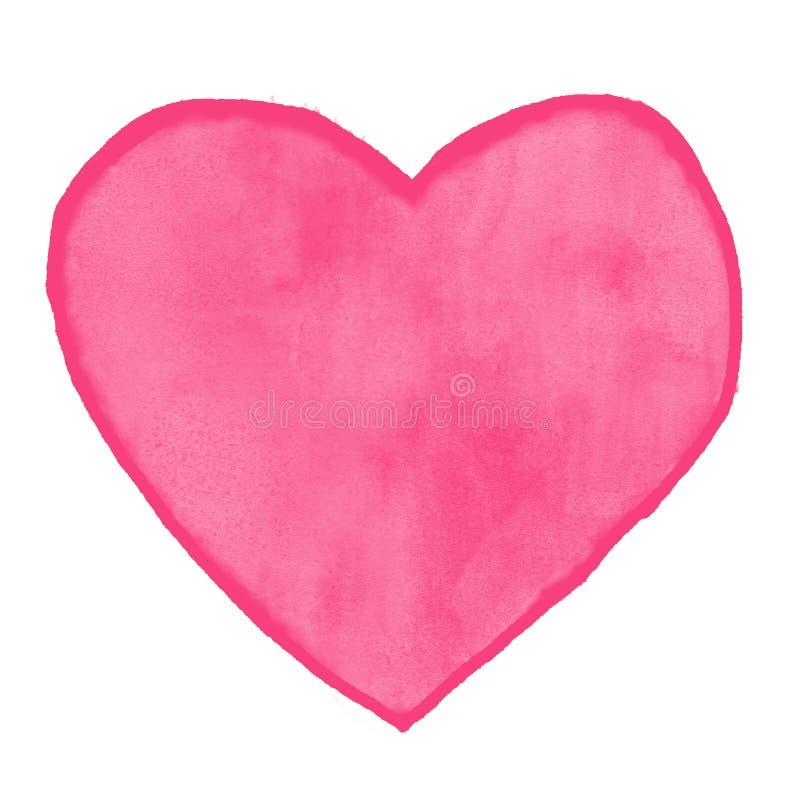 Pintura da aquarela do amor do coração fotografia de stock