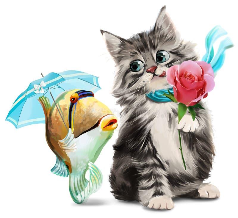 Pintura da aquarela do gatinho e dos peixes ilustração stock