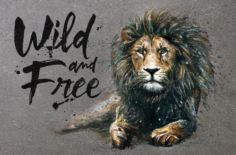 Pintura da aquarela do leão com o rei predador dos animais do fundo dos animais selvagens & livres ilustração do vetor