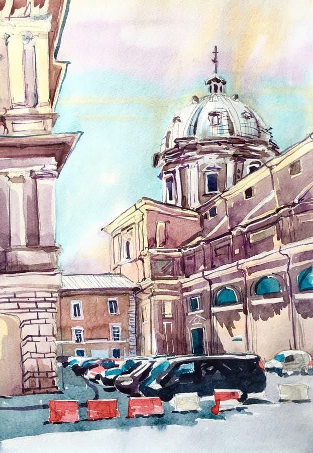 Pintura da aquarela do marco famoso de Roma Itália, italiano velho mim ilustração do vetor