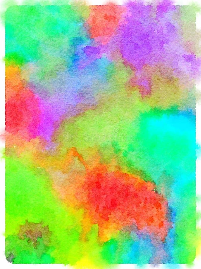 Pintura da aquarela do sumário tingido colorido w colorido da tela ilustração stock