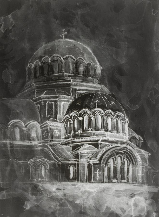 Pintura da aquarela do templo velho imagens de stock royalty free