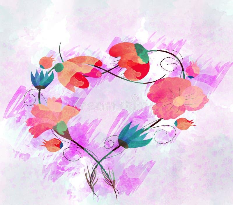 Pintura da aquarela, flor ilustração stock