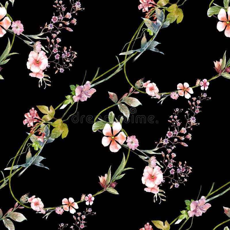 Pintura da aquarela da folha e das flores, teste padr?o sem emenda na obscuridade fotografia de stock royalty free