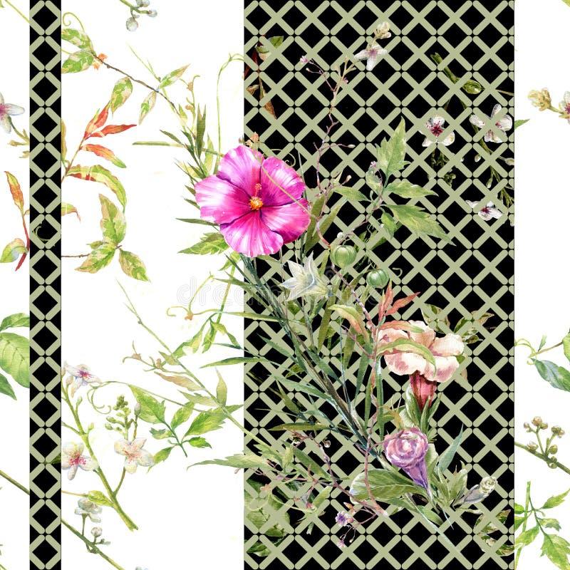 Pintura da aquarela da folha e das flores, teste padr?o sem emenda no branco imagem de stock
