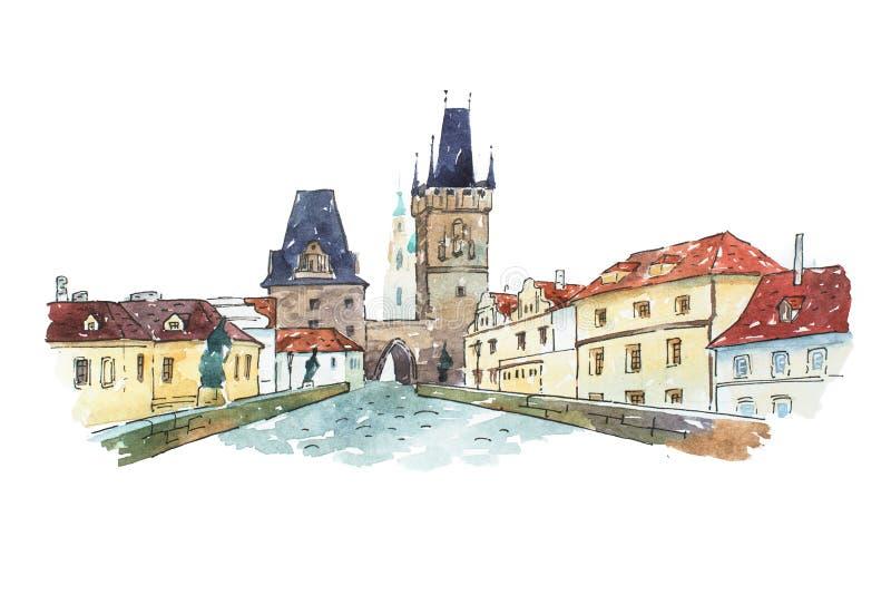 Pintura da aquarela da ponte de Charles em Praga, República Checa, Europa ilustração stock