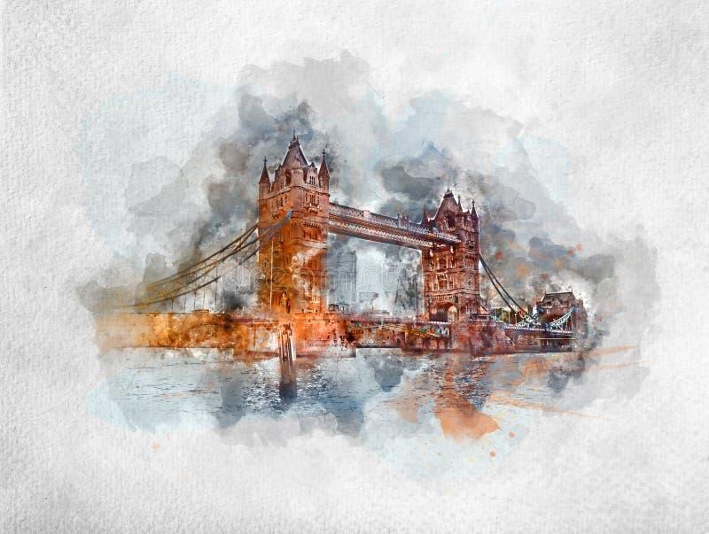 Pintura da aquarela da ponte da torre em Londres ilustração royalty free