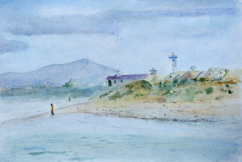 Pintura da aquarela da praia em África do Sul com um passeio do homem ilustração royalty free