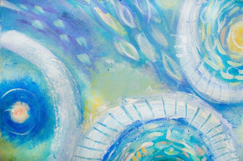 Pintura da arte abstrata Mundo subaquático Fundo pintado à mão azul abstrato imagem de stock royalty free