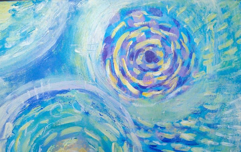 Pintura da arte abstrata Mundo subaquático Fundo pintado à mão azul abstrato ilustração do vetor