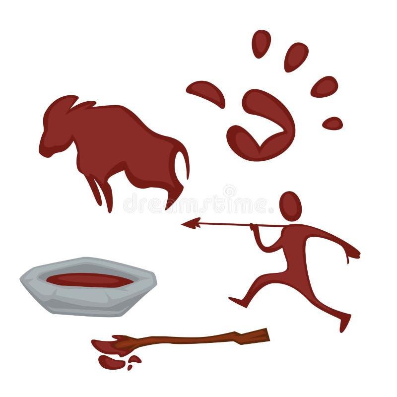 Pintura da arte da rocha em imagens da palma e do boi do caçador da bacia ilustração stock