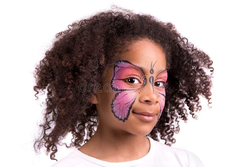 Pintura da cara, borboleta fotos de stock