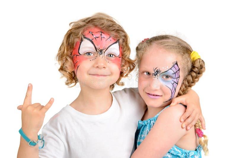 Pintura da cara, Web de aranha fotografia de stock royalty free