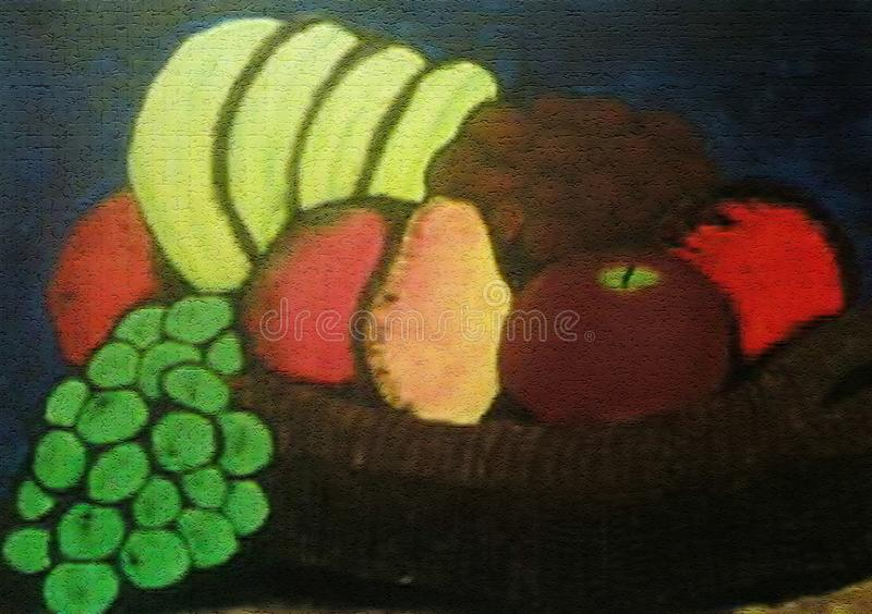 Pintura da cesta de fruto no projeto criado lona do fundo ilustração royalty free
