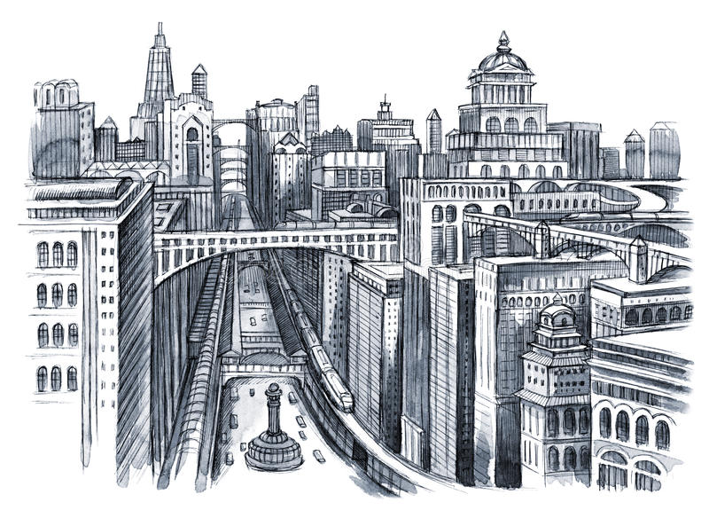 Pintura da cidade urbana ilustração do vetor