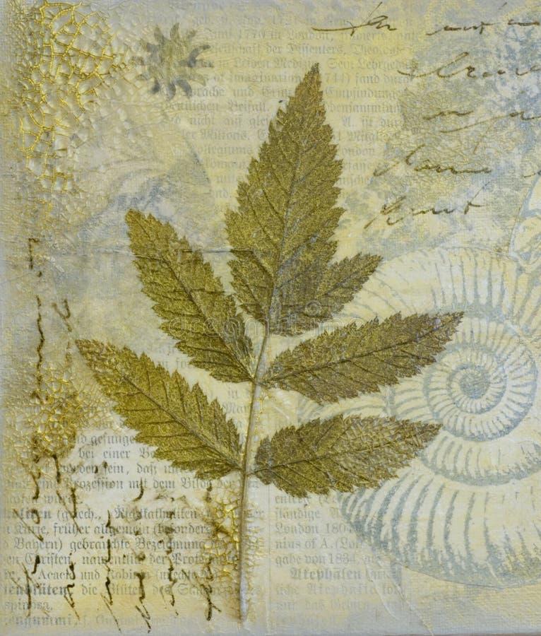 Pintura da colagem com folha ilustração royalty free