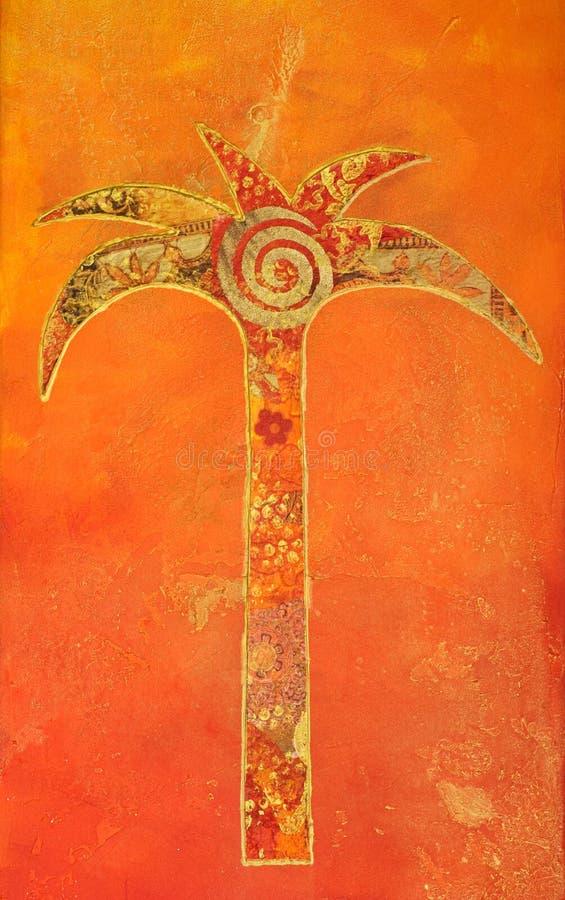 Pintura da colagem da palma ilustração do vetor