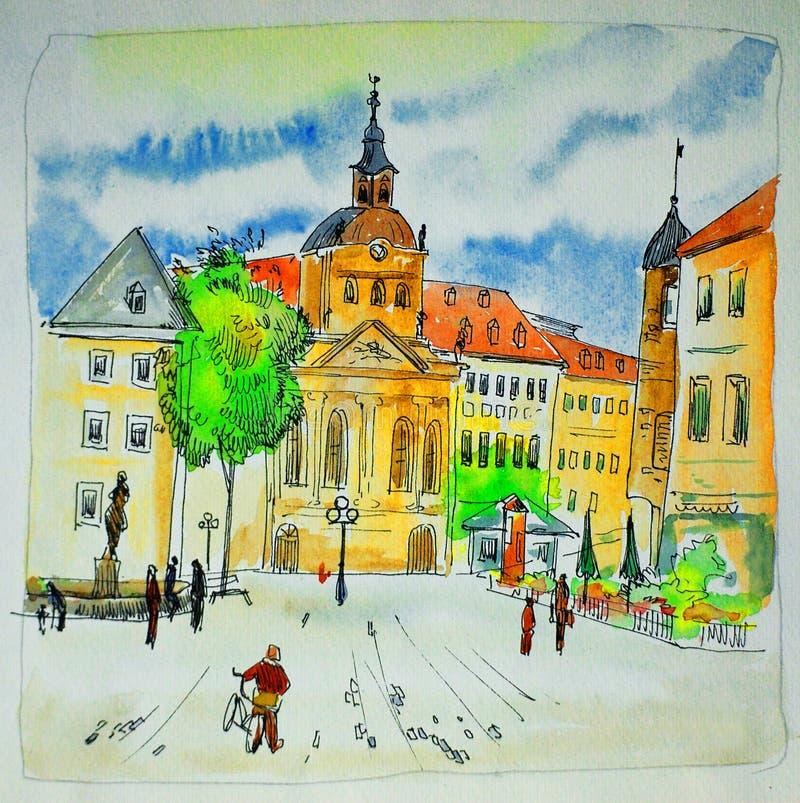 Pintura da cor de água, esboço, ilustração, bavaria, trier ilustração stock