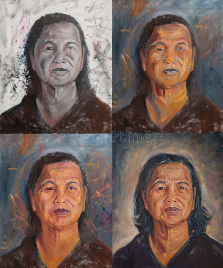 Pintura da cor de óleo do retrato tailandês velho da mulher imagem de stock