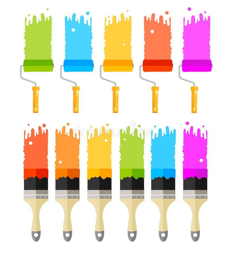 Pintura da cor dos desenhos animados, rolo e grupo de escovas Vetor ilustração do vetor