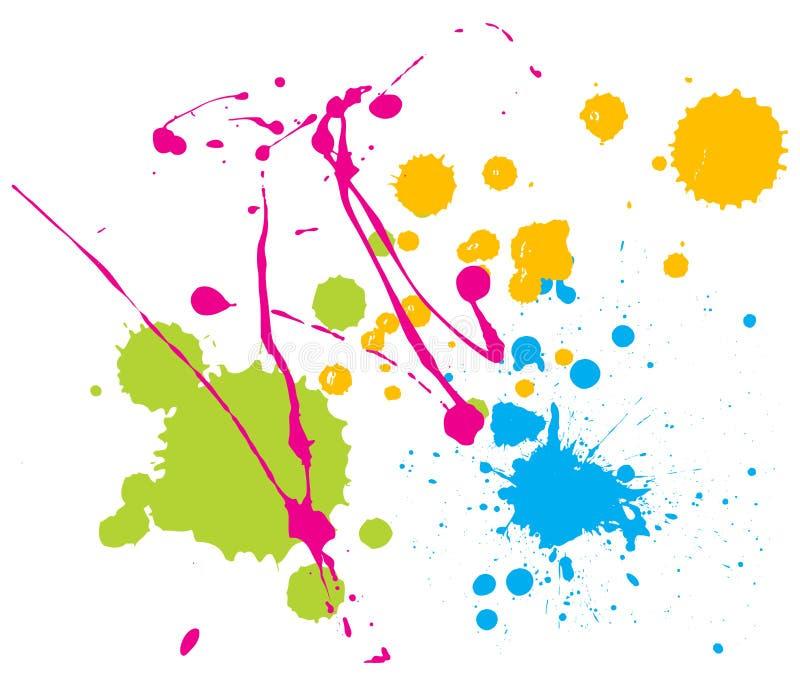 A pintura da cor espirra ilustração stock