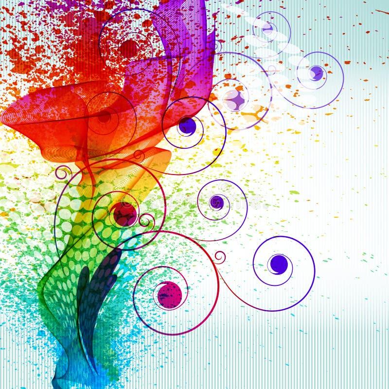 A pintura da cor espirra. ilustração do vetor