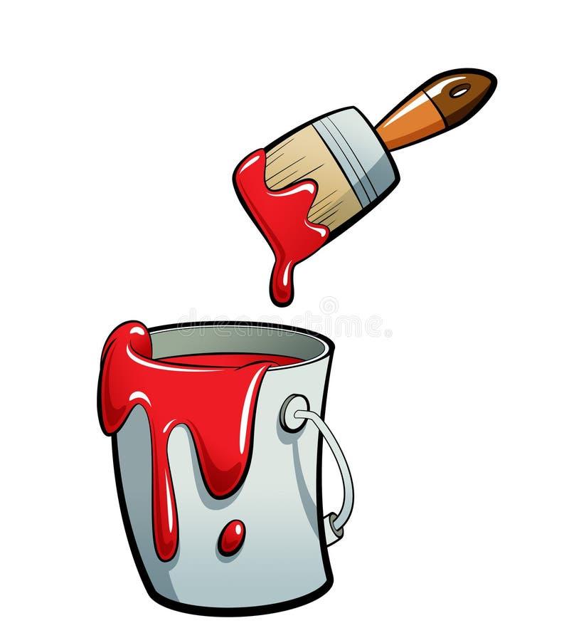 Pintura da cor vermelha dos desenhos animados em uma pintura da cubeta da pintura com Br da pintura ilustração stock