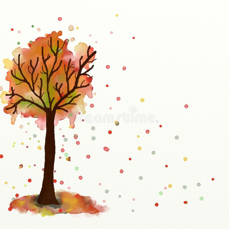 Pintura da criança da árvore do outono ilustração royalty free
