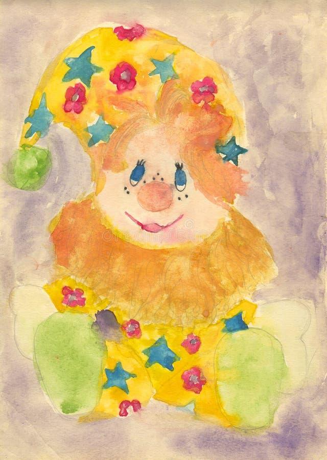 Pintura da criança de um palhaço ilustração stock