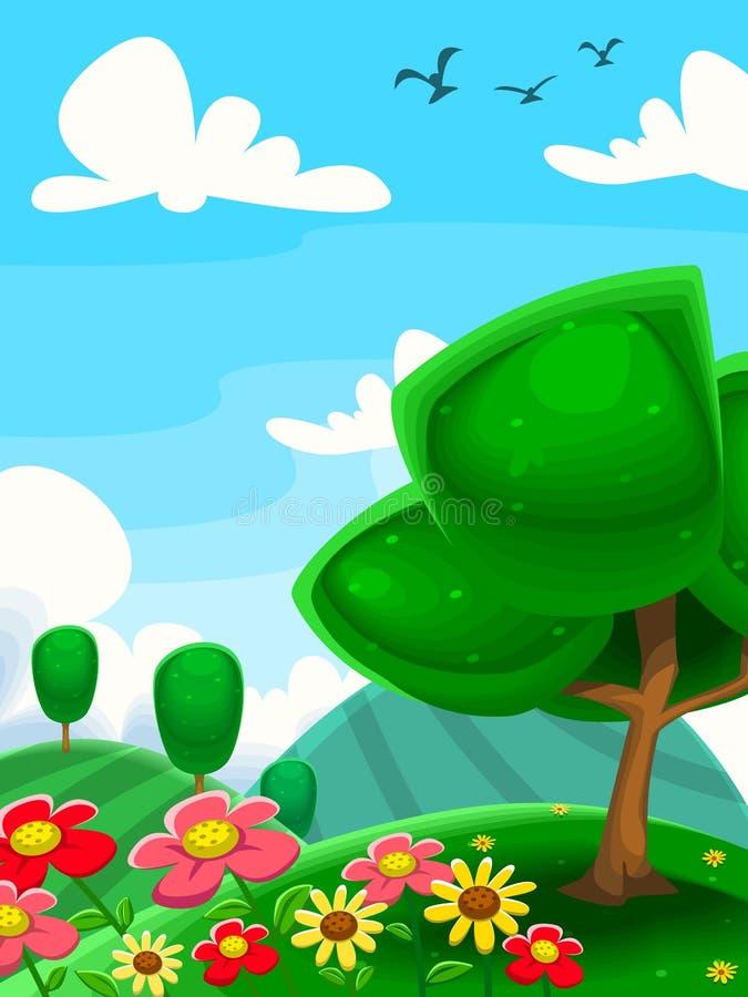Pintura da criança do pássaro do céu da nuvem da exploração agrícola da flor da árvore da cena do prado dos desenhos animados do  ilustração stock