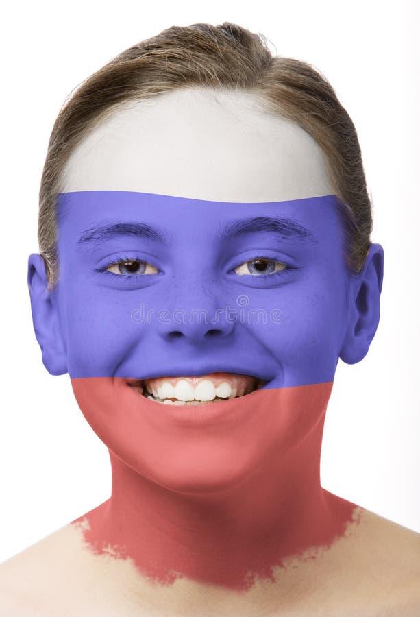 Pintura da face - bandeira de Rússia foto de stock royalty free