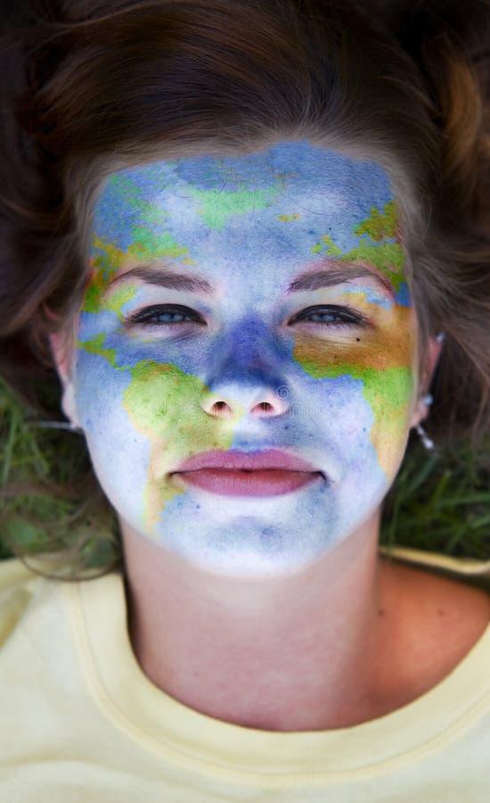 Pintura da face - mundo imagens de stock royalty free
